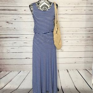 Renee C. Blue and White Striped Maxi Dress